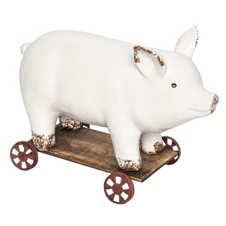 Decoratie varken op wielen 26*11*17 cm Wit | 6CE0930 | Clayre & Eef
