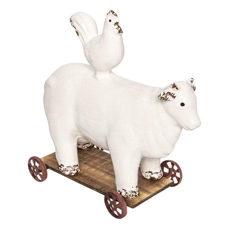 Koe op wielen 12*23*25 cm Wit | 6CE0934 | Clayre & Eef