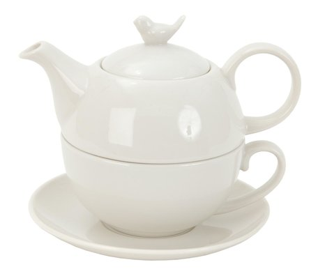 Tea for one set 16*15*14 cm / 0.4L Wit | BITEFO | Clayre & Eef