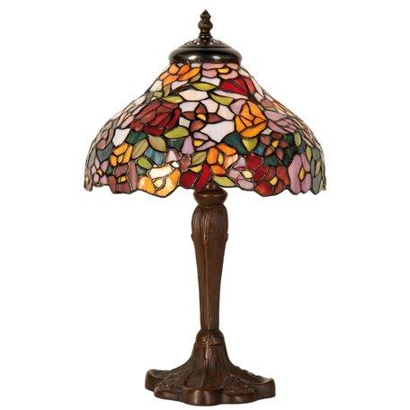 Tafellamp Tiffany ø 26*40 cm E14/max 1*40W Meerkleurig   5LL-1130   Clayre & Eef
