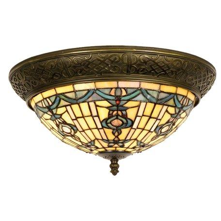 Plafondlamp Tiffany ø 38*19 cm E14/max 2*40W Groen | 5LL-5351 | Clayre & Eef