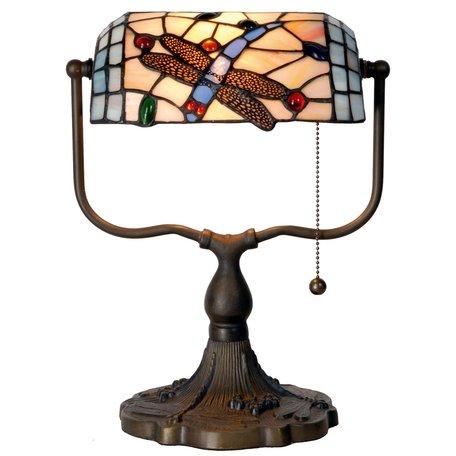 Bureaulamp Tiffany 27*20*36 cm E27/max 1*60W Meerkleurig   5LL-1144   Clayre & Eef