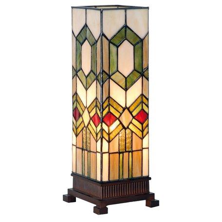 Tafellamp Tiffany 12.5*35 cm E14/max 1*40W Meerkleurig | 5LL-3085 | Clayre & Eef