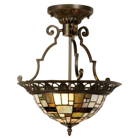 Plafondlamp Tiffany ø 37*41 cm E14/max 2*40W Bruin | 5LL-5328 | Clayre & Eef