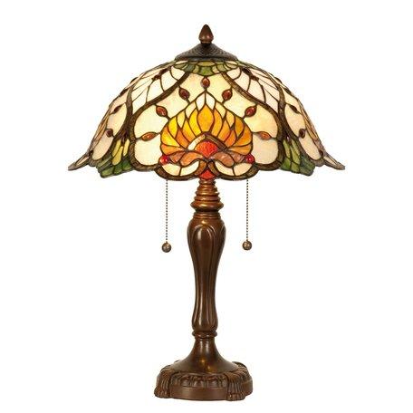 Tafellamp Tiffany ø 40*50 cm E27/max 2*60W Meerkleurig | 5LL-5390 | Clayre & Eef