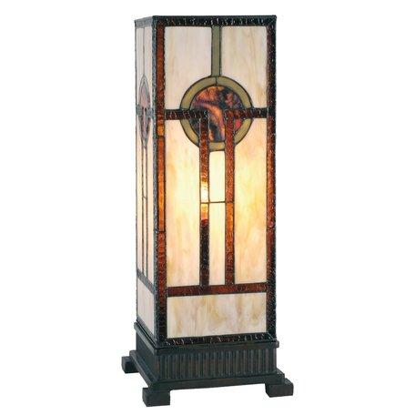 Tafellamp Tiffany 18*18*45 cm E27/max 1*60W Bruin | 5LL-5446 | Clayre & Eef