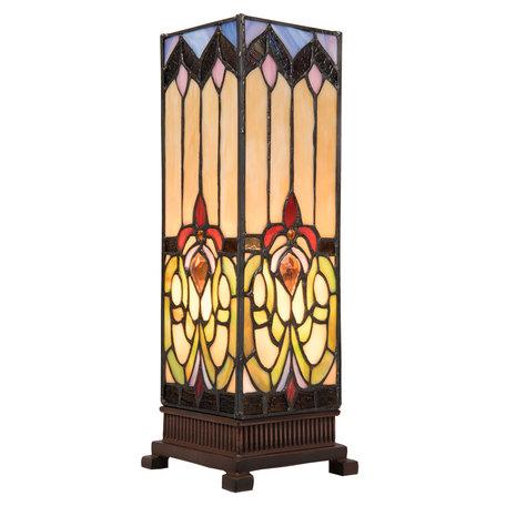 Tafellamp Tiffany 12*12*35 cm E14/max 1*25W Meerkleurig | 5LL-5906 | Clayre & Eef