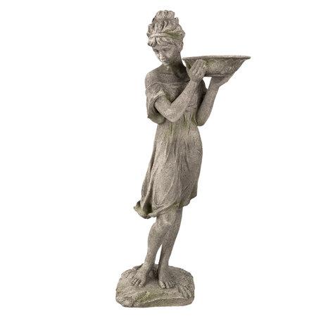 Decoratie beeld vrouw/vogelbad 32*30*77 cm Grijs   5PR0041   Clayre & Eef