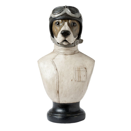 Decoratie buste hond 24*26*51 cm Wit | 6PR1161 | Clayre & Eef