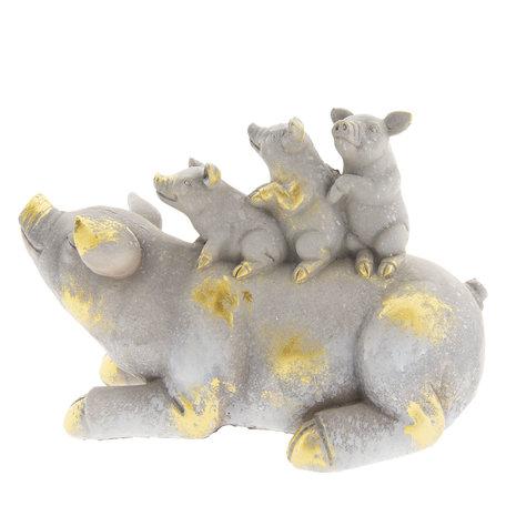 Decoratie varkens 34*15*21 cm Wit | 6PR2354 | Clayre & Eef