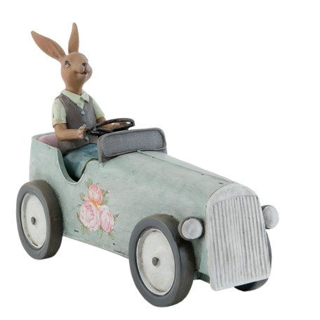 Decoratie konijn in auto 22*9*17 cm Grijs | 6PR0703 | Clayre & Eef