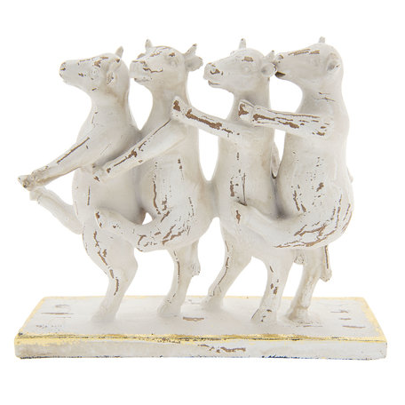 Decoratie dansende koeien 25*8*19 cm Wit | 6PR2355 | Clayre & Eef