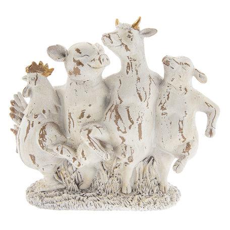 Decoratie dansende dieren 28*9*24 cm Wit | 6PR2356 | Clayre & Eef