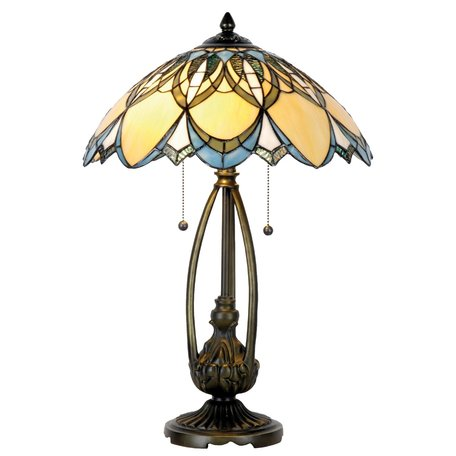 Tafellamp Tiffany ø 40*60 cm E27/max 2*60W Meerkleurig   5LL-5320   Clayre & Eef