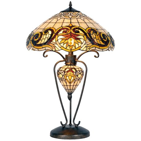 Tafellamp Tiffany ø 46*76 cm E27/max 2*60W E14/max 1*40W Geel | 5LL-5475 | Clayre & Eef