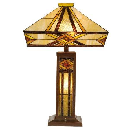 Tafellamp Tiffany 42*42*71 cm E27/max 2*60W Meerkleurig | 5LL-5520 | Clayre & Eef