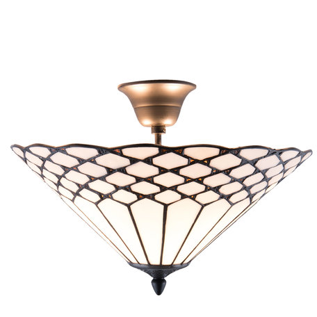 Plafondlamp Tiffany ø 42*29 cm E14/max 2*40W Wit | 5LL-5890 | Clayre & Eef
