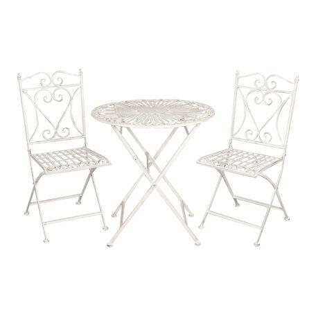 Tafel + 2 stoelen ø 70*75 / 40*47*94 cm (2) Wit | 5Y0127 | Clayre & Eef