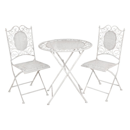 Tafel + 2 stoelen ø 70*75 / 41*48*95 cm (2) Grijs | 5Y0128 | Clayre & Eef