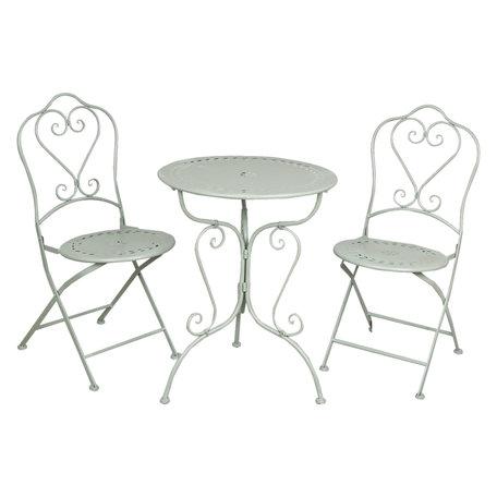 Tafel + 2 stoelen ø 62*73 / 48*40*93 cm (2) Groen | 5Y0129 | Clayre & Eef