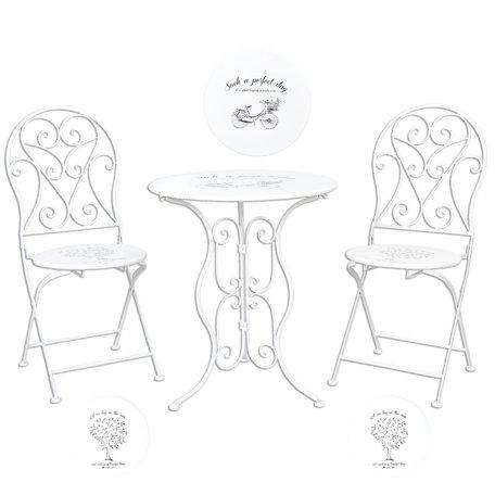 Tafel + 2 stoelen ø 60*70 / 2x ø 40*40*92 cm Wit | 5Y0192 | Clayre & Eef