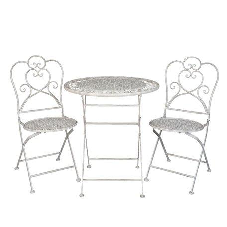 Tafel + 2 stoelen ø 70*75 / 42*39*93 cm (2) Wit | 5Y0222 | Clayre & Eef