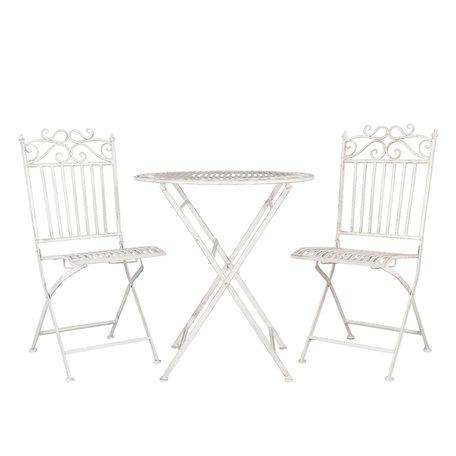 Tafel + 2 stoelen 38*48*96 cm Wit | 5Y0290 | Clayre & Eef