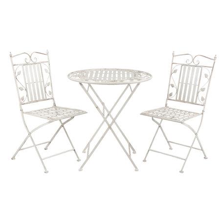 Tafel + 2 stoelen ø 70*77 cm / 40*52*93 cm (2) Wit | 5Y0385 | Clayre & Eef