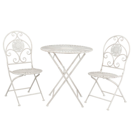 Tafel + 2 stoelen ø 70*76 cm / 42*54*93 cm (2) Wit | 5Y0386 | Clayre & Eef