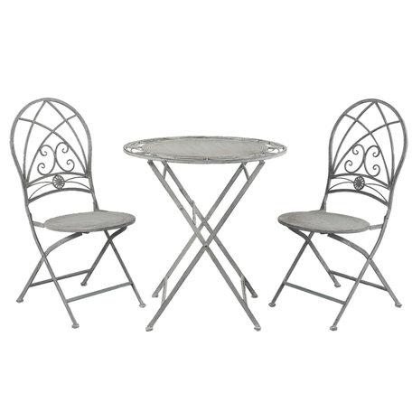 Tafel + 2 stoelen ø 70*76 cm / 42*54*93 cm (2) Grijs | 5Y0387 | Clayre & Eef