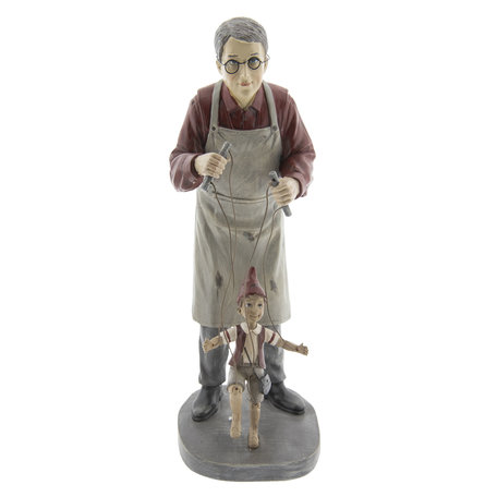 Decoratie man met marionet 16*14*36 cm Multi | 6PR2417 | Clayre & Eef