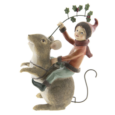 Decoratie muis met elfje 15*8*22 cm Meerkleurig | 6PR2423 | Clayre & Eef