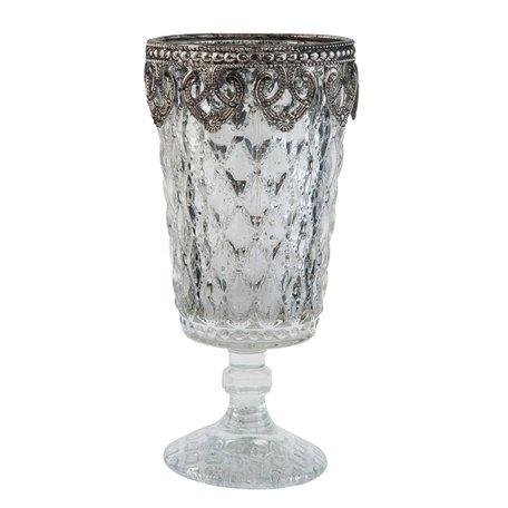 Waxinelichthouder ø 8*16 cm Zilverkleurig | 6GL1852 | Clayre & Eef