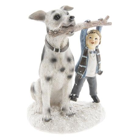 Decoratie kind met hond 14*13*18 cm Meerkleurig | 6PR2408 | Clayre & Eef