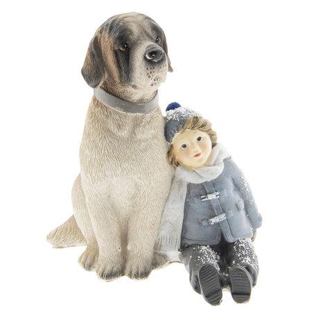 Decoratie kind met hond 13*11*15 cm Meerkleurig | 6PR2409 | Clayre & Eef