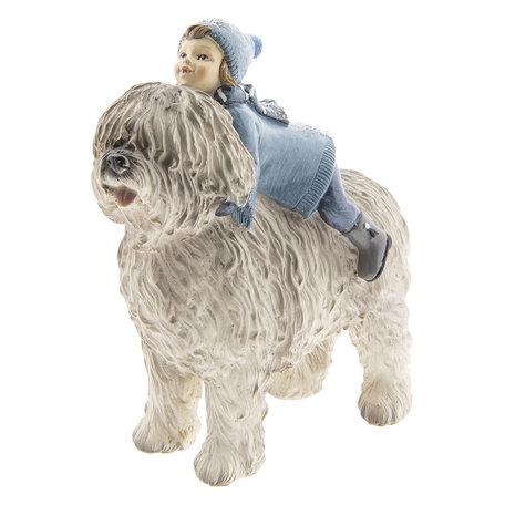 Decoratie kind met hond 16*7*17 cm Meerkleurig | 6PR2410 | Clayre & Eef