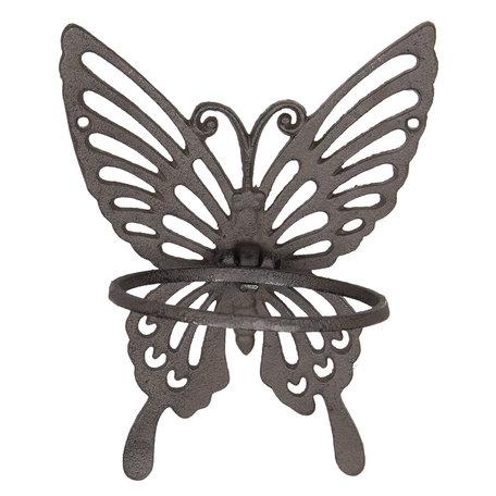 Handdoekhouder vlinder 18*15*23 cm Bruin | 6Y3008 | Clayre & Eef