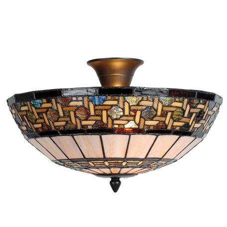 Plafondlamp Tiffany ø 40*23 cm E14/max 2*40W Meerkleurig | 5LL-5604 | Clayre & Eef