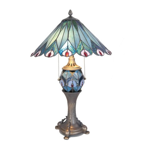Tafellamp Tiffany ø 40*65 cm E27/max 2*60W E14/max 1*7W Blauw   5LL-5829   Clayre & Eef