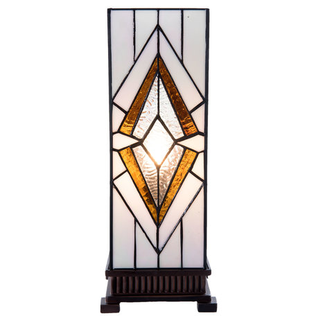 Tafellamp Tiffany 17*17*44 cm E27/max 1*40W Wit   5LL-5895   Clayre & Eef