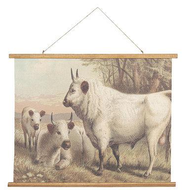 Wandkaart koeien 100*2*75 cm Bruin | 5WK0029 | Clayre & Eef
