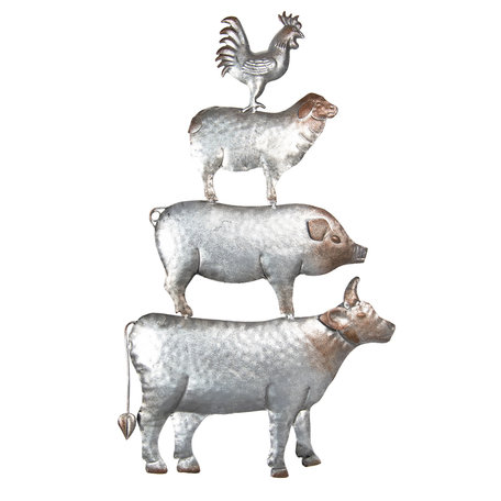 Wanddecoratie dieren 39*3*67 cm Grijs | 5Y0453 | Clayre & Eef