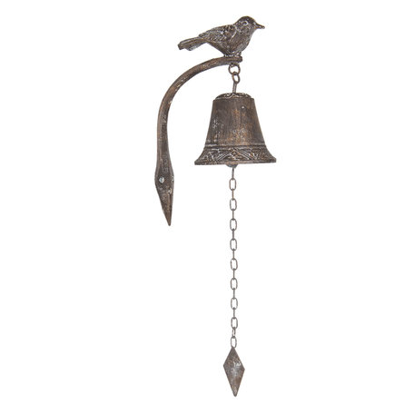 Bel met vogel 10*15*25 cm Bruin | 6Y3173 | Clayre & Eef
