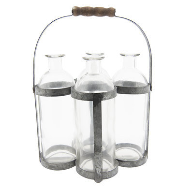 Flessenrek met flessen 21*15*29 cm Grijs   6Y3316   Clayre & Eef