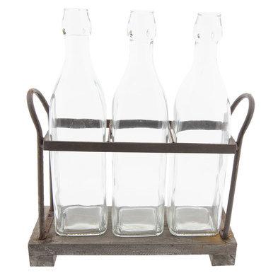 Flessenrek met flessen 30*10*35 cm Bruin | 6Y3317 | Clayre & Eef