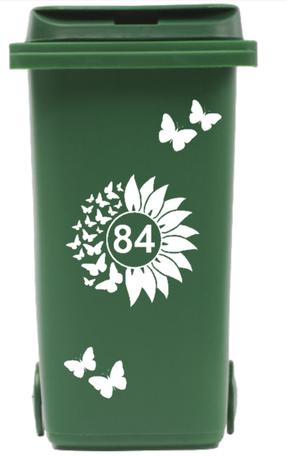 Container Sticker zonnebloem / vlinders met huisnummer | Kliko | Rosami