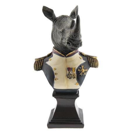 Decoratie neushoorn 15*11*26 cm Meerkleurig | 6PR2366 | Clayre & Eef