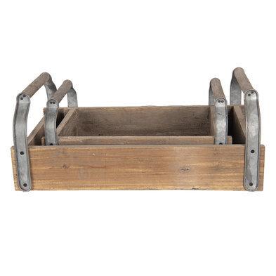 Dienblad (set van 2) 58*35*23 cm / 45*28*19 cm(2) Bruin | 6H1736 | Clayre & Eef
