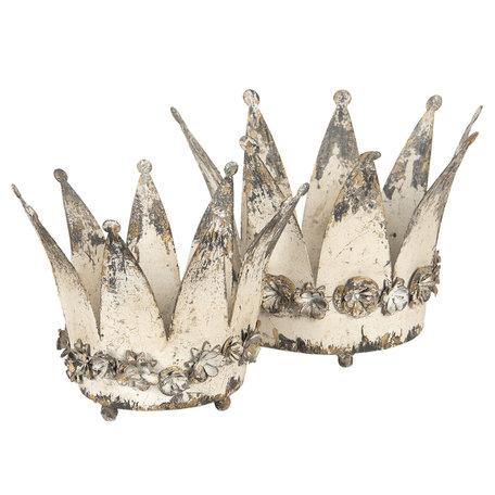 Decoratie kroon / Waxinelichthouder ( set 2 ) ø 33*24 / ø 27*20 cm Wit | 6Y2955 | Clayre & Eef