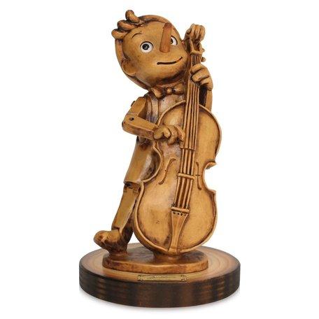 Beeld Pinokkio met bas gitaar 17 x 10 cm - Music Collection | Bartolucci